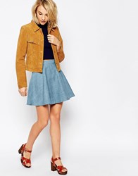 Daisy Street Skater Skirt In Denim Blue