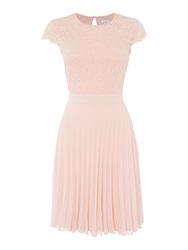 Untold Lace Top Pleated Skirt Dress Pink