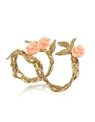 Bernard Delettrez Two Fingers Leafy Bronze Ring W 3 Pink Resin Roses Gold