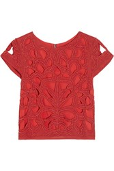 Alice Olivia Pollie Cropped Beaded Cotton Top Red