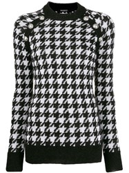 Balmain Houndstooth Knitted Sweater Black