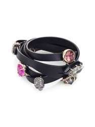 Alexis Bittar Custom Gemstone And Leather Wrap Bracelet Black Multi