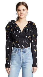 C Meo Collective Vice Long Sleeve Top Black Scattered Floral