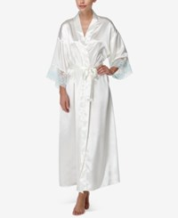 Flora Nikrooz By Adore Lace Cuffed Charmeuse Wrap Robe Ivory