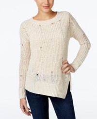 Calvin Klein Jeans Distressed Asymmetrical Sweater Vanilla Ice