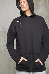 Forever 21 Raw Cut Terry Knit Hoodie Black