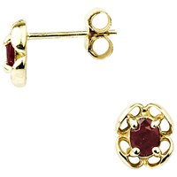 A B Davis 9Ct Yellow Gold Flower Stud Earrings Ruby
