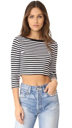 Three Dots 3 4 Sleeve Crop Top Black White