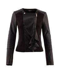 Morgan Leather Look Ruffle Front Jacket Black