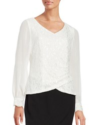 Alex Evenings Lace Accented Blouse Ivory