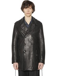 Lanvin Double Breasted Matte Leather Coat
