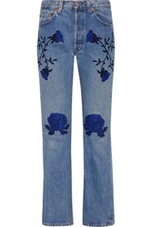 Bliss And Mischief Conjure Embroidered Mid Rise Straight Leg Jeans Mid Denim