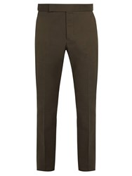 Berluti Straight Leg Cotton Chino Trousers Dark Green