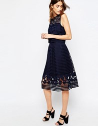Warehouse Floral Mesh Lace Full Midi Skirt Navy