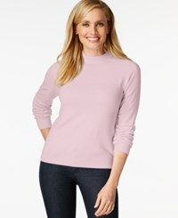 Karen Scott Mock Turtleneck Long Sleeve Sweater Only At Macy's Pink Ice