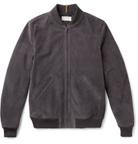 A.P.C. Louis W The Ferris Slim Fit Suede Bomber Jacket Charcoal