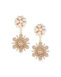 Fragments For Neiman Marcus Pearly And Pave Double Flower Drop Earrings Gold