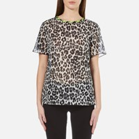 Marc Jacobs Women's Leopard Print T Shirt Bone Stone
