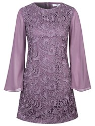 True Decadence Sheer Sleeve Tunic Dress Purple