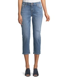 Eileen Fisher Cropped Tapered Jeans Petite Abraided Sky Blue