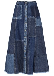 Mcq By Alexander Mcqueen Blue Patchwork Denim Midi Skirt