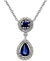 Macy's Sapphire 5 8 Ct. T.W. And Diamond 1 5 Ct. T.W. Pendant Necklace In 14K White Gold Blue