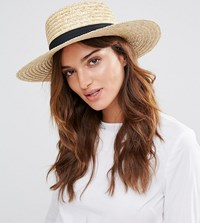 South Beach Straw Boater Hat With Black Band Beige
