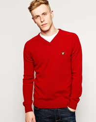 Lyle And Scott 1960 Jumper With V Neck In Lambswool Wine
