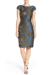 Vera Wang Women's Metallic Jacquard Sheath Dress
