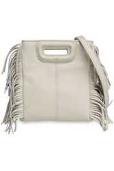 Maje Woman Fringed Leather Shoulder Bag Off White Off White