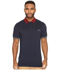 Fred Perry Color Block Pique Shirt Service Blue Black Oxford White Black Men's Short Sleeve Knit Navy