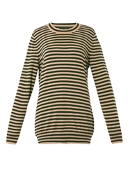 Dolce And Gabbana Striped Cashmere Knit Sweater