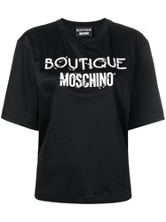 Boutique Moschino Pierced Logo T Shirt Black