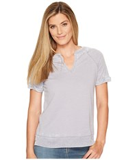 Allen Allen Split Neck Crew Dark Grey Women's Clothing Gray