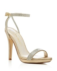 Caparros Destiny Metallic Rhinestone Embellished High Heel Sandals Gold