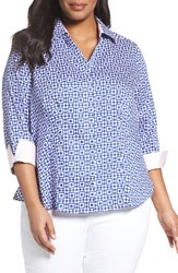 Foxcroft Plus Size Women's Taylor Pool Tiles Wrinkle Free Shirt
