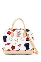 Dooney And Bourke Indians Zip Zip Satchel White