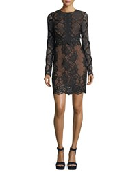 Kendall Kylie Jewel Neck Long Sleeve Lace Cocktail Dress Black
