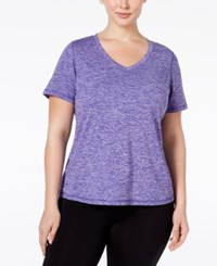 Ideology Plus Size Essential V Neck Performance T Shirt Only At Macy's Blazing Purple Melange