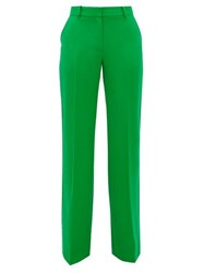 Bella Freud David Wide Leg Wool Twill Trousers Green