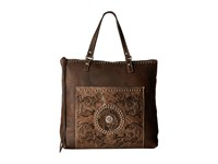 American West Soft Zip Top Bag Pack Distressed Brown Distressed Charcoal Brown Top Zip Handbags