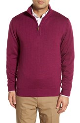 Men's Bobby Jones Windproof Merino Wool Quarter Zip Sweater Italian Plum