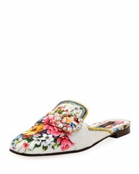 Dolce And Gabbana Floral Print Corduroy Loafer Mule Flat Multi