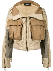 Dsquared2 Utility Pocket Zipped Jacket Brown