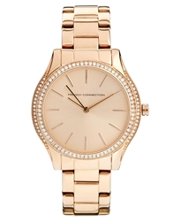 French Connection Double Circle Dial Rose Gold Watch Rosegold