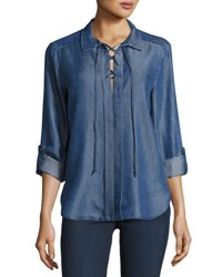 Velvet Heart Bridgette Chambray Lace Up Top Indigo