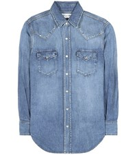Saint Laurent Embellished Denim Shirt Blue