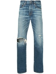 Hysteric Glamour Distressed Straight Leg Trousers Blue