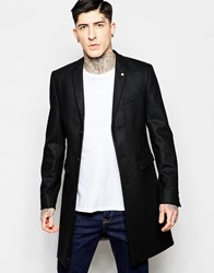 Noose And Monkey Wool Overcoat Black