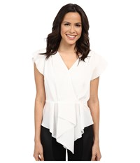 Adrianna Papell V Neck Cascade Top Ivory Women's Blouse White